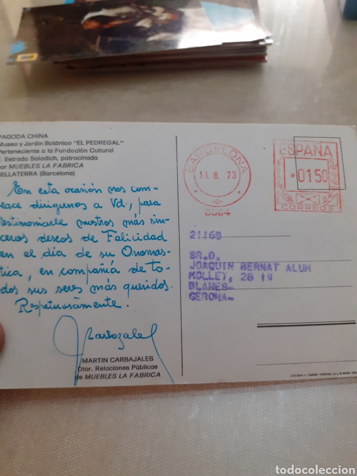Postales: Antigua postal manuscrita pagoda china - Foto 2 - 245404200