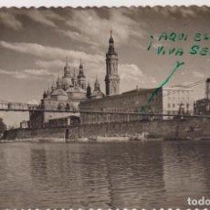Postales: ZARAGOZA. TEMPLO Y HOSPEDERÍA DEL PILAR. FRANQUEADO Y FECHADO EN 1949. Lote 262683010