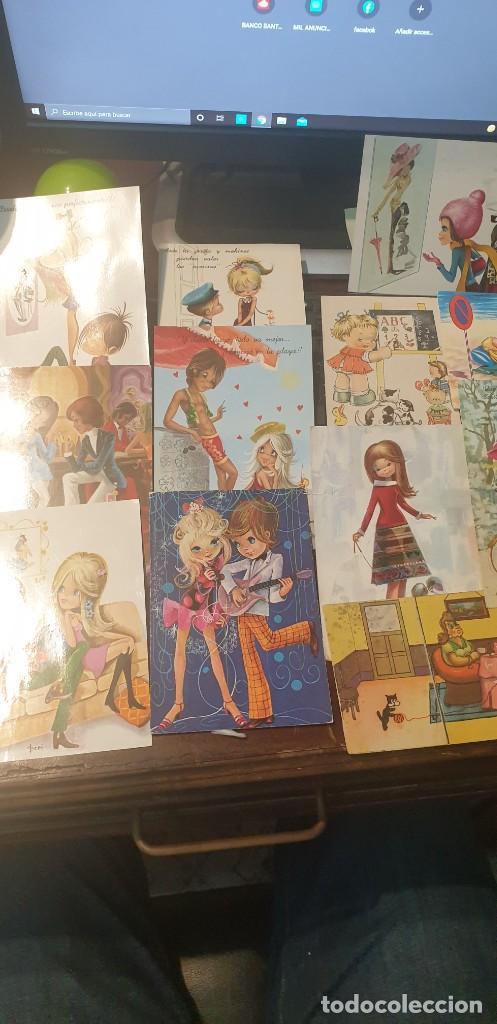 Postales: Lote de 14 postales románticas años 70 circuladas - Foto 3 - 288432838