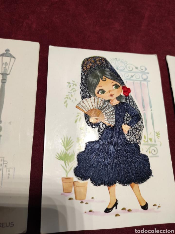 Postales: Postales bordadas lote de tres - Foto 3 - 288452273