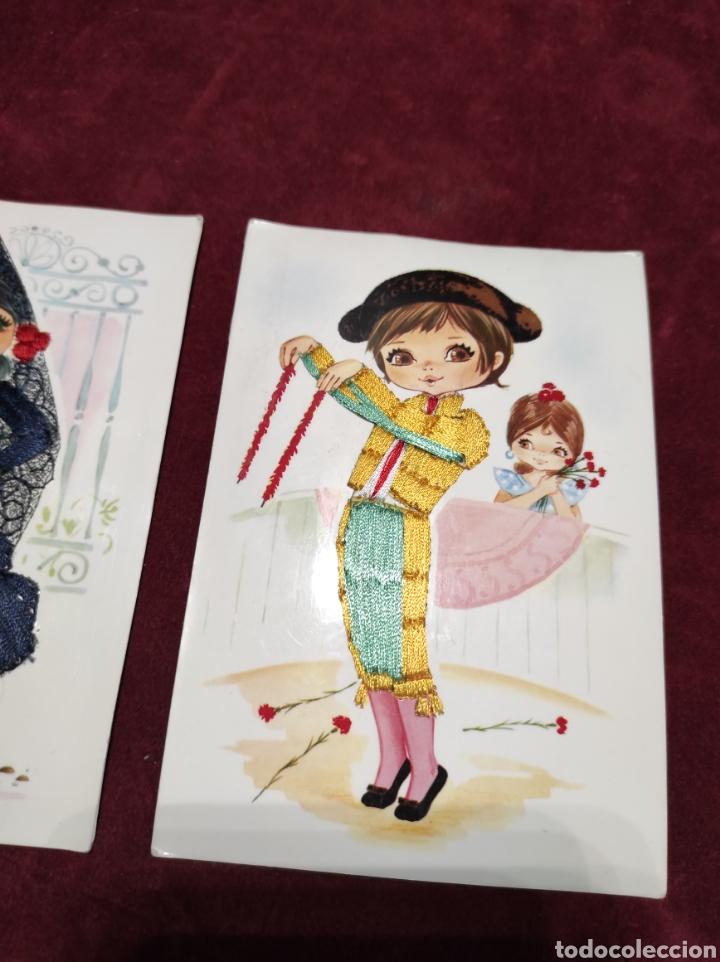 Postales: Postales bordadas lote de tres - Foto 4 - 288452273