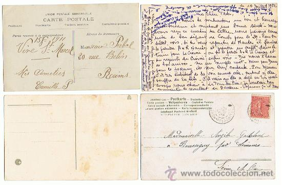 Postales: 4 POSTALES INTERESANTES CON 4 METODOS ANTIGUOS DE IMPRESION, 2 SELLADAS Y RESELLADAS - Foto 2 - 26669444