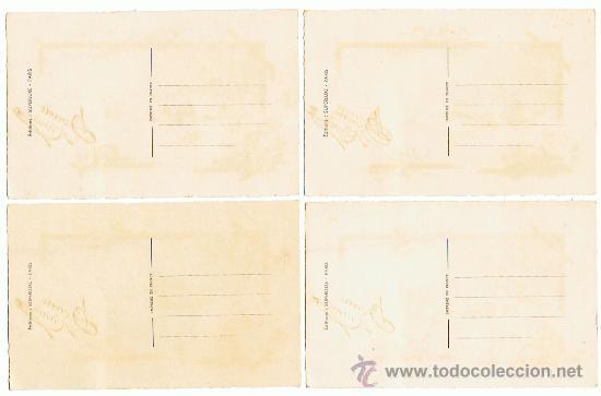 Postales: 4 POSTALES de NAVIDAD ANTIGUAS, TEMAS NAVIDEÑOS, Texto con relieve dorado, VER FOTOS - Foto 2 - 27280001