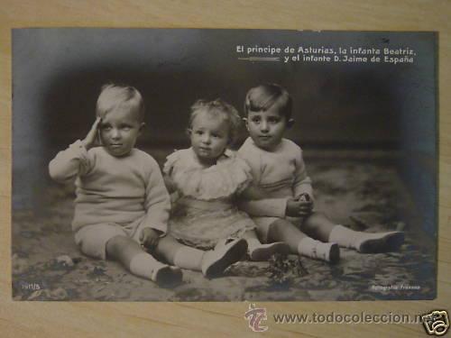 TARJETA POSTAL EL PRINCIPE DE ASTURIAS LA INFANTA BEATRIZ Y EL INFANTE DON JAIME FOTOGRAFIA FRANCEN (Postales - Postales Temáticas - Especiales)