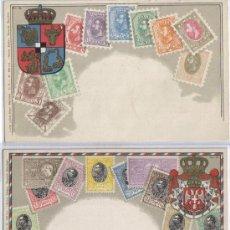 Postales: DOS POSTALES TEMA FILATELIA, SELLOS, SERVIA Y RUMANIA. Lote 26024456