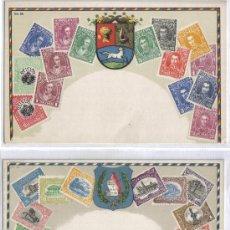 Postales: DOS POSTALES TEMA FILATELIA, SELLOS, GUATEMALA Y VENEZUELA. Lote 42344069
