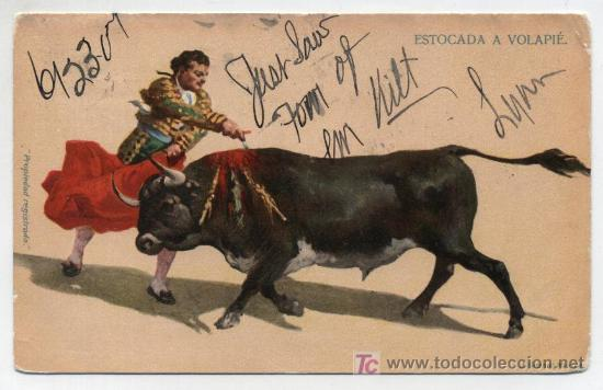 ESTOCADA A VOLAPIÉ. J. GRANAT.MÉXICO. FRANQUEADO Y FECHADO EN 1907. (Postales - Postales Temáticas - Especiales)