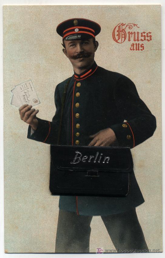 BERLIN. MALETA DE PIEL AUTÉNTICA EN LA TARJETA. ¡IMPECABLE! (Postales - Postales Temáticas - Especiales)