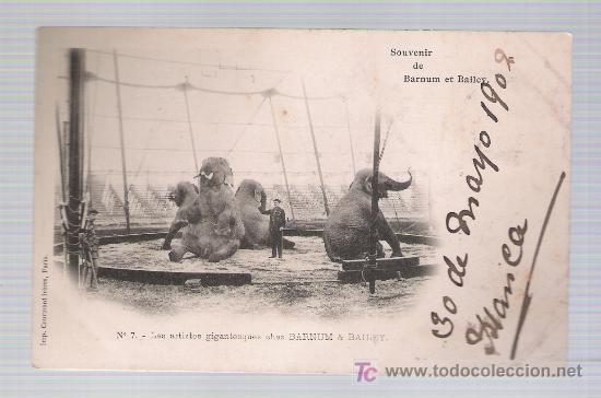 SOUVENIR DE BARNUM ET BAILEY. LES ARTISTES GIGANTESQUES.FRANQUEADO Y FECHADO EN IRÚN 1902. (Postales - Postales Temáticas - Especiales)