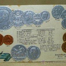 Postales: ANTIGUA POSTAL, LAS MONEDAS DE TODOS LOS PAISES, GRECIA, GOFRADA, 1874, MH, BERLIN. Lote 21527707