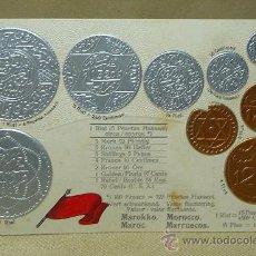 Postales: ANTIGUA POSTAL, LAS MONEDAS DE TODOS LOS PAISES, MARRUECOS, GOFRADA, 1329, MH, BERLIN. Lote 21528133