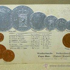 Postales: ANTIGUA POSTAL, LAS MONEDAS DE TODOS LOS PAISES, HOLANDA, NETHERLANDS, PAISES BAJOS, GOFRADA, 1873,. Lote 21528198