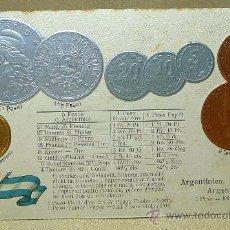 Postales: ANTIGUA POSTAL, LAS MONEDAS DE TODOS LOS PAISES, ARGENTINA, GOFRADA, 1883, MH, BERLIN. Lote 21528912