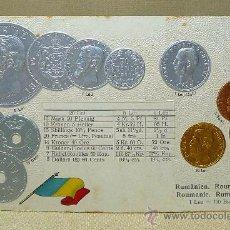 Cartes Postales: ANTIGUA POSTAL, LAS MONEDAS DE TODOS LOS PAISES, RUMANIA, ROUMANIA, GOFRADA, 1900, MH, BERLIN. Lote 21529022