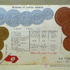 Postales: ANTIGUA POSTAL, LAS MONEDAS DE TODOS LOS PAISES, TUNEZ, LA TUNISIE, GOFRADA, 1892. Lote 21529210