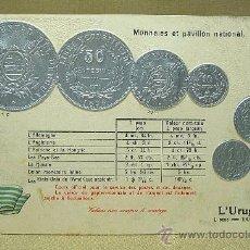 Postales: ANTIGUA POSTAL, LAS MONEDAS DE TODOS LOS PAISES, URUGUAY, GOFRADA, 1894. Lote 21529289