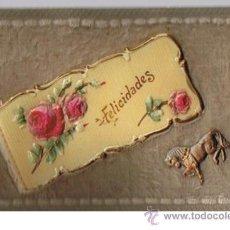 Postales: POSTAL DE FELICITACIÓN. RELIEVE ( CARTÓN,PASTA Y TEJIDO). Lote 21641209