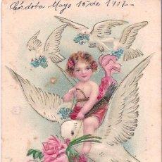 Postales: TARJETA POSTAL ANTIGUA - CUPIDO SOBRE PALOMA MENSAJERA - CIRCULADA - 1907. Lote 26859203