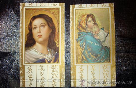 POSTAL DOBLE CON PURPURINA DE LA VIRGEN Y EL NIÑO JESÚS, DOS UNIDADES DE LOS AÑOS 60. (Postales - Postales Temáticas - Especiales)