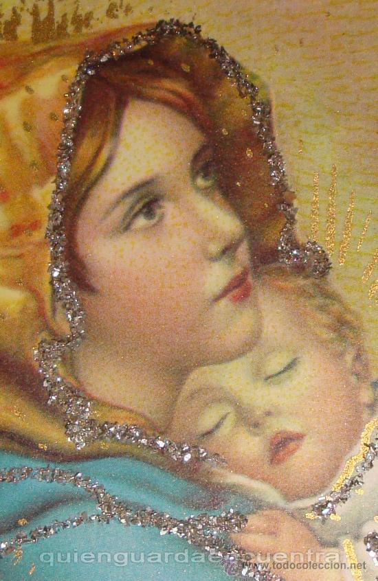 Postales: Postal doble con purpurina de la Virgen y el niño Jesús, dos unidades de los años 60. - Foto 2 - 27573986