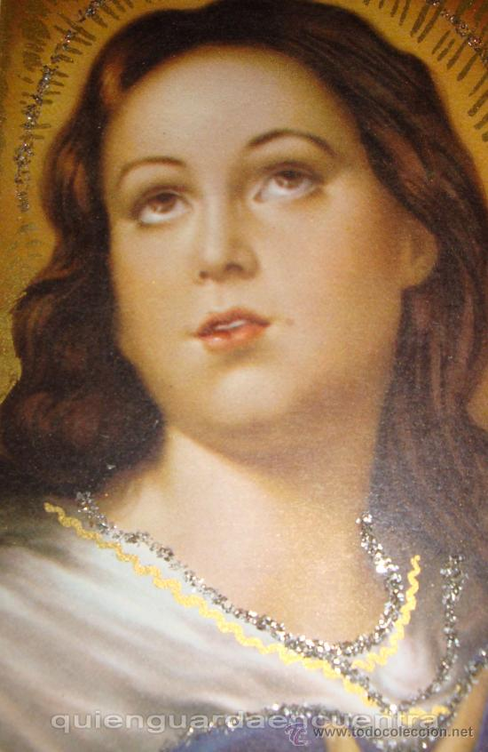 Postales: Postal doble con purpurina de la Virgen y el niño Jesús, dos unidades de los años 60. - Foto 3 - 27573986