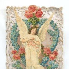 Postales: POSTAL FRANCESA TRIDIMENSIONAL - ANGEL CON FLORES - S. XIX. Lote 26356598