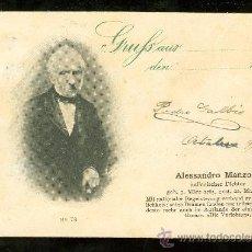 Postales: TARJETA POSTAL DE GRUSS. GRUFS. ALESSANDRO MANZONI. Nº 78. REVERSO NO DIVIDIDO.. Lote 26082832