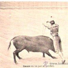 Postales: TARJETA POSTAL. TAUROMAQUIA. GAONA, EN UN PAR AL QUIEBRO. FOTOTIPIA J. ROJG.. Lote 29185804
