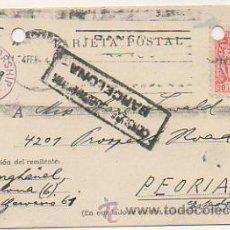 Postales: CIRCULADA DE BARCELONA A PEORIA (EEUU). U.S. CENSORSHIP EXAMINED. CENSURA GUBERNATIVA DE BARCELONA. . Lote 30189705
