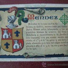 Postales: POSTAL HERALDICA - APELLIDOS PATRONIMICOS - MENDEZ. Lote 30719257