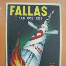 Postales: VALENCIA - FALLAS - AÑO 1954. Lote 30825082