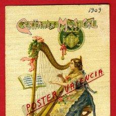 Postales: POSTAL ILUSTRADA, EXPOSICION REGIONAL VALENCIA 1909, CARTEL CERTAMEN MUSICA, PASTOR, ORIGINAL,P69416. Lote 31282176