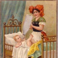 Postales: RARA Y ANTIGUA POSTAL DOBLE CON ANIMACION EN LA BOTELLA DE LECHE - VER ADICIONAL 1910 APROX.. Lote 32296671
