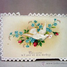 Postales: POSTAL, TROQUELADA, RELIEVE, PALOMA, FELICITACION. Lote 32320488
