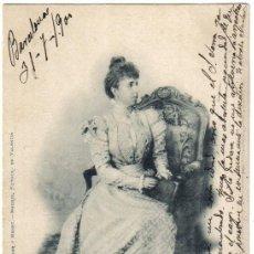 Postales: MARIA CRISTINA REINA REGENTE CIRCULADA EN 1900 SELLO PELON, HAUSER Y MENET NUMERO 416. Lote 33870736