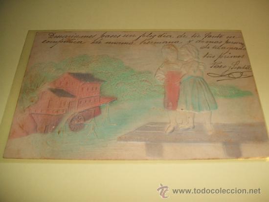 POSTAL EN RELIEVE NIÑOS Y MOLINO 1905 (Postales - Postales Temáticas - Especiales)