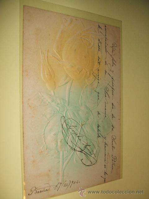 POSTAL ROSA EN RELIEVE 1904 (Postales - Postales Temáticas - Especiales)