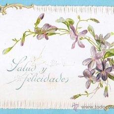 Postales: FELICITACION CON DORADO, RELIEVE Y TROQUEL. PRINCIPIOS S. XX. Lote 34144632