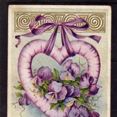 Postales: TARJETA POSTAL DE FELICITACIÓN 1910, CON MAS TIERNO AMOR A MI SAN VALENTÍN, LAZO CORAZÓN Y FLORES. Lote 34922202