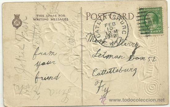 Postales: TARJETA POSTAL DE FELICITACIÓN 1910, CON MAS TIERNO AMOR A MI SAN VALENTÍN, LAZO CORAZÓN Y FLORES - Foto 3 - 34922202