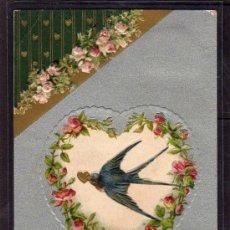 Postales: POSTAL DÍA SAN VALENTÍN, AÑO 1908, CON RELIEVE FLORES CORAZON Y GOLONDRINA. Lote 34925792