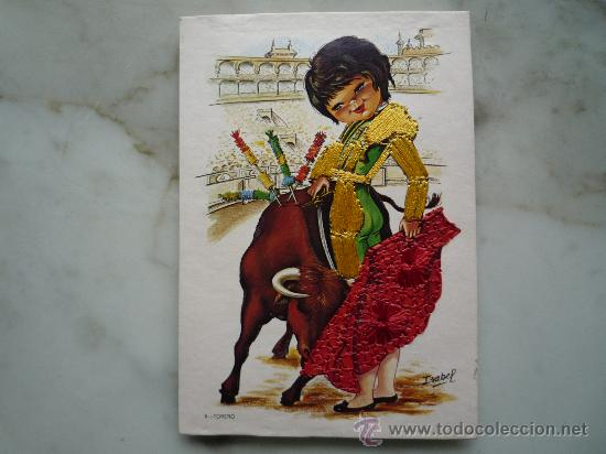 Postales: Postal bordada / nº 6 Torero (traje típico) / Toro Toreo / Dibujos Isabel / Años '70 / Sin usar - Foto 4 - 34940966