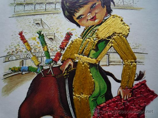 Postales: Postal bordada / nº 6 Torero (traje típico) / Toro Toreo / Dibujos Isabel / Años '70 / Sin usar - Foto 3 - 34940966