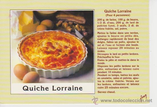 Receta de cocina en frances quiche lorraine comprar for Las comidas en frances