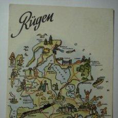 Postales: RÜGEN ALEMANIA GERMANY MAPA - CIRCULADA - MIRA OTRAS SIMILARES EN VENTA. Lote 35709068