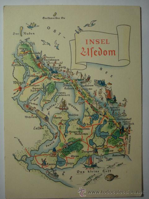 postal de mapa ufedom alemania germany deutschland mas en venta postales especiales