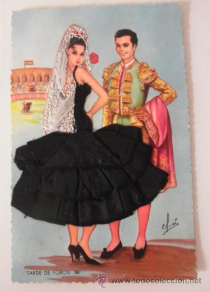 POSTAL BORDADA SEVILLANA Y TORERO (Postales - Postales Temáticas - Especiales)