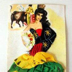 Postales: POSTAL BORDADA SEVILLANA Y TOREO CON TORO. Lote 37872317