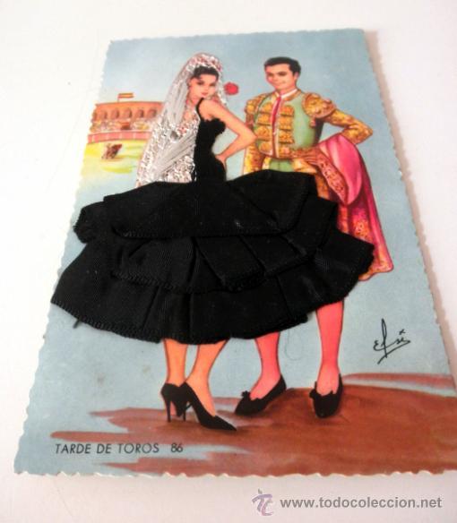 Postales: POSTAL BORDADA SEVILLANA Y TORERO - Foto 3 - 37872276