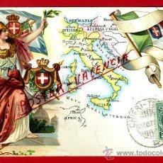 Postales: POSTAL ILUSTRADA, ITALIA , MAPA Y BANDERA , REVERSO SIN PARTIR , ORIGINAL , P78436. Lote 38023369